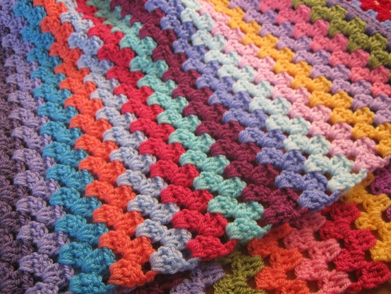 15% OFF BLISS Granny Stripes Cosy Crochet Colourful Blanket Afghan