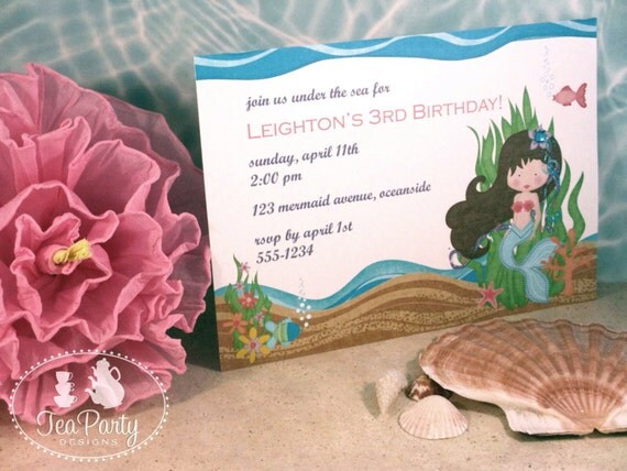 Mermaid Birthday Party Custom Invitations - Blue Lagoon Collection