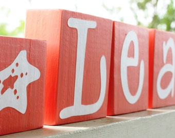 PERSONALIZED LETTER BLOCKS - Custom Seahorse Starfish Name Sign - Coral Pink Baby Shower Gift Girl Ocean Nursery Beach Sea