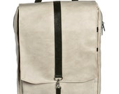 Off White Faux Leather , Backpack, padded laptop bag - Roxanna