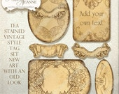Digital Tea Stained Vintage Labels or Tags, Digital Collage Sheet, AJR-362A scrapbooking cardmaking invites hand watercolor antique