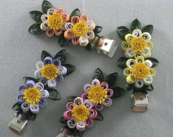 Quilled Paper 2-Flower Hair Clips