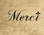 INSTANT DOWNLOAD Merci Fleur-de-lis - Download and Print - Image Transfer - Digital Sheet by Room29 - Sheet no. 754