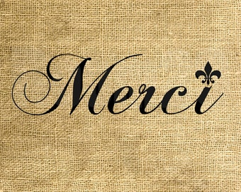INSTANT DOWNLOAD Merci Fleur-de-lis - Download and Print - Image Transfer - Digital Sheet by Room29 - Sheet no. 754
