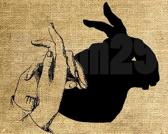 Instant Download Hand Shadow Figure Bunny - Download and Print - Image Transfer - Digital Sheet by Room29 - Sheet no. 816