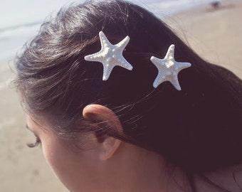 Starfish Hair Clips Mermaid Barrettes White Sea Stars Nautical Girls Ariel Costume Beachy Beach Boho Wedding Accessories Womens Gift Summer