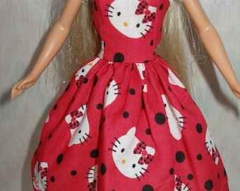 """Handmade 11.5"""" fashion doll clothes - red, black and white hello kitty dress"""