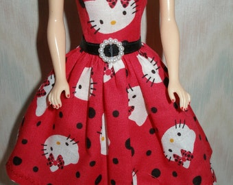 """Handmade 11.5"""" fashion doll clothes - red, black and white kitty dress"""