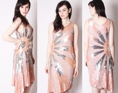 Silk Sequin Beaded Coral Pastel Peach and Silver Art Deco Flapper Dress / Coral Sequin Wedding Dress / Sequin Prom Dresses / 2020