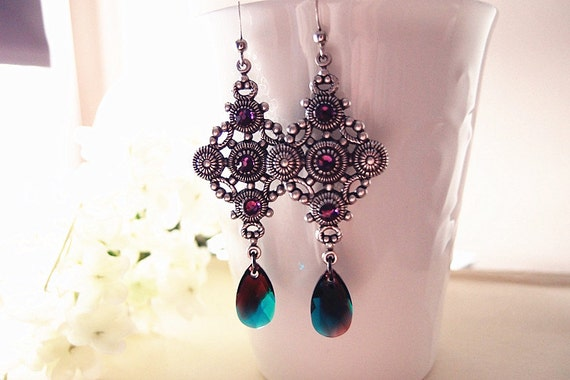 Ennata --Swarovski Burgundy-Blue Zircon Blend crystals teardrops,amethyst crystals, ox antique silver brass Victorian dangle earrings