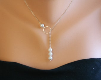 Sterling silver Karma,Circle and Pearl Necklace,bridesmaid gift,wedding bridal jewelry,birthday gift