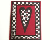 Valentine Card Love Card or Note Card Red and Brown Checkerboard Hearts With Layered Primitive Heart Blank Inside
