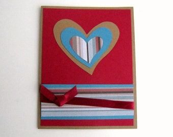Valentine Card Love Card or Note Card Handmade Blue and Red Striped Asymmetric Heart Note Card Blank Inside