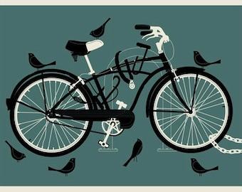 Boy Bird Bike 12 x 16 silkscreen