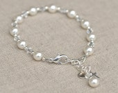 First Communion Bracelet Silver Cross Swarovski Elements With SS Personalized Initial Charm and Birthstone Charm