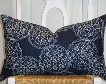 Duralee Fabric From The John Robshaw Collection - Hand Made Pillow Cover - Suzani -  Accent Pillow - Throw Pillow  - Indigo - Blue