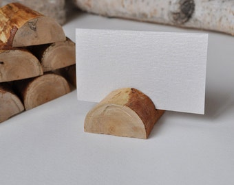 5 Birch Wood Place Holders for Wedding Decor, Meetings, Events, Photo Props, Formal Dinners...