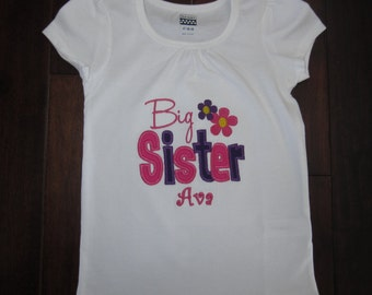Embroidered - big sister shirt with personalization hot pink and purple - choose short or long sleeve
