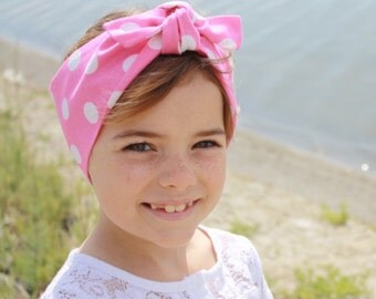 Vintage Inspired Head Scarf, Kids Size, Pink Polka Dots, Retro, Rockabilly
