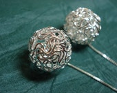Large Silver Wire Balls on Sterling  Ear Threads-FREE SHIPPING To U.S.- Threader Earrings