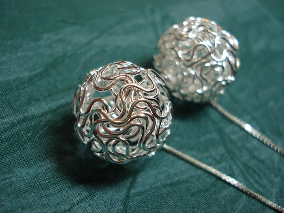 Large Silver Wire Balls on Sterling  Ear Threads-Threader Earrings/Necklace-FREE SHIPPING To U.S.-