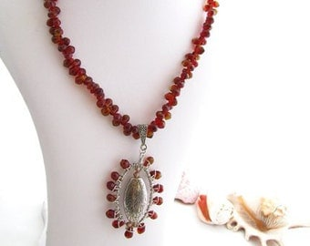 Autumn Tone Ooak Briolette Necklace