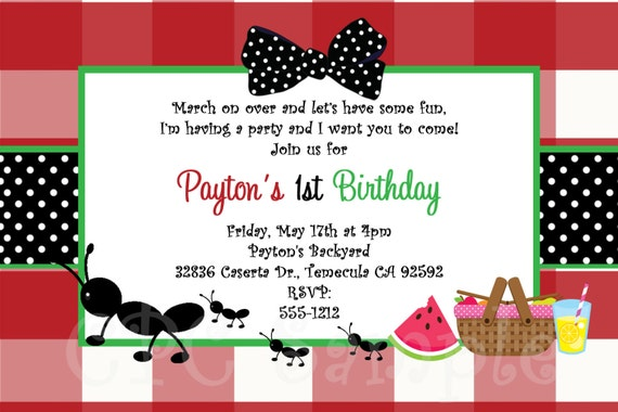 Ants on a Picnic Birthday Invitation Printable or Printed – Picnic Invitation