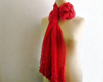 Red Cotton Scarf, Knit Red Scarf, Summer Scarf