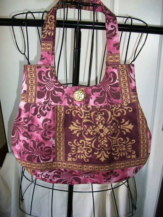 Clearence / Purse Rose  Pink  Gold  and burgundy