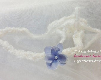 blue newborn headband, ity bitty baby headband, Small Flower Headband, tiny flower, photo prop, purple