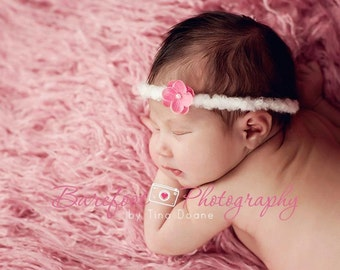Tiny Pink Headband, Baby Newborn, Toddler, Photography Prop, newborn headband, baby headband, Small Flower Headband,