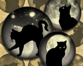 Black Cats on Grey Moonlit Skies 1 inch Circles Halloween Digital Collage Sheet--Instant Download