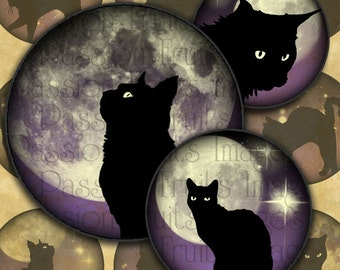 Black Cats on Midnight Skies 1 inch Circles Halloween Digital Collage Sheet--Instant Download