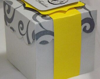 50 and Fabulous Favor Boxes...  Gray and Yellow Favor Boxes