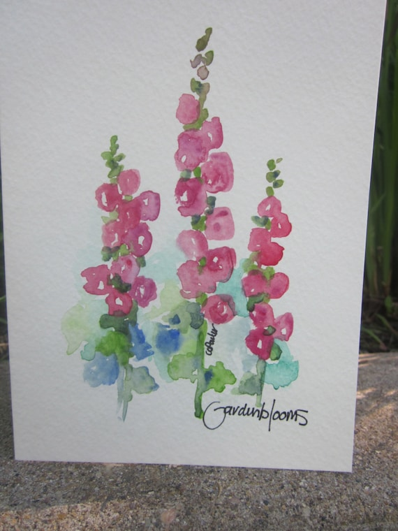 Old fashioned hollyhocks watercolor card