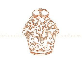 Redwork Cupcakes Embroidery Design Instant Download