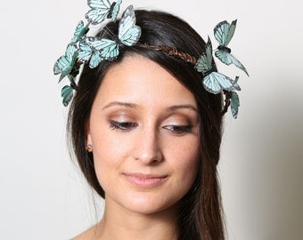 Sweet Mint Pastel Butterfly Crown - wedding, bride, fantasy, woodland,green