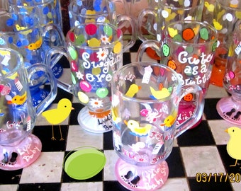 Baby Shower Painted Glasses, Custom Baby Shower Painted Glasses, Baby Shower Cafe Glasses Painted, Hand Painted Baby Shower Glasses
