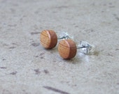 "Tiny Cherry Wood Earrings, Natural Wood Stud Earring, Surgical Steel, Sterling Silver Posts - 1/4""(6mm) - 943"