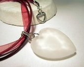 Love Heart Pendant Necklace Lucite on Red Leather and Organza Ribbon