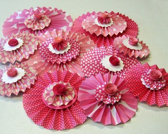 Pleated Paper Rosettes set of  10 of  Pleated Rosette Flowers Party Luncheon Decoration