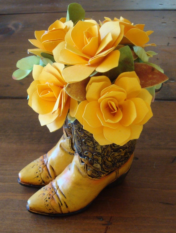 Cowboy Boots Or Cowgirl Paper Flower Arrangement Yellow Rose