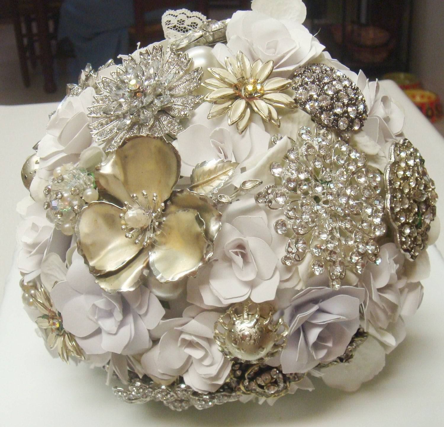 Bridal Flowers With Bling : Bridal bling brooch wedding bouquet by sweetpeaspaperflower