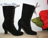 BIG SALE Victorian Boots in black suede leather