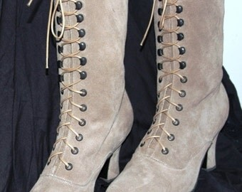 Victorian Boots light mushrooms colour leather Ankle boots Lace Granny boots Edwardian boots