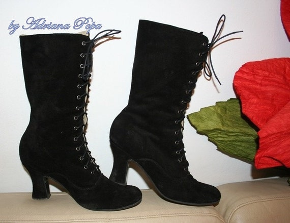 SALE Victorian Boots in black suede leather