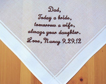 Wedding Handkerchief for Father of the Bride on White Men's Handkerchief with Custom Message No. 3