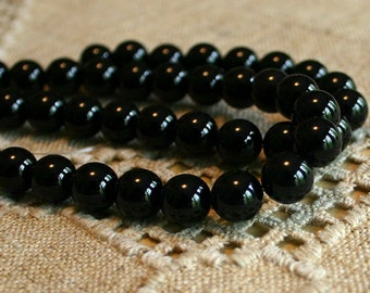 50pcs 8mm Black Obsidian Natural Gemstone Beads 16 Inches Strand