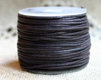 Cotton Cord BROWN Waxed 1mm 100-Meter Many Colors
