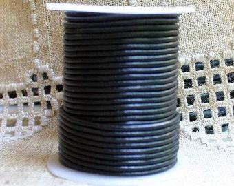 5 Yard Cord Leather 2mm Round Shiny Black Surfer Choker Cord